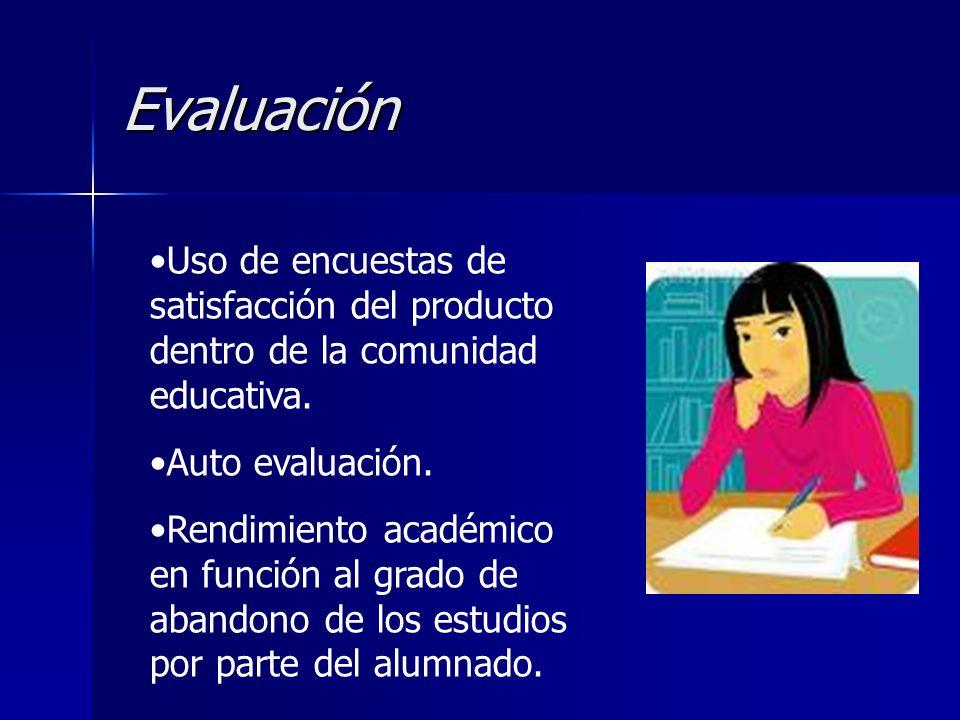 Evaluación Uso de encuestas de satisfacción del producto dentro de la comunidad educativa. Auto evaluación. Rendimiento académico en función al grado