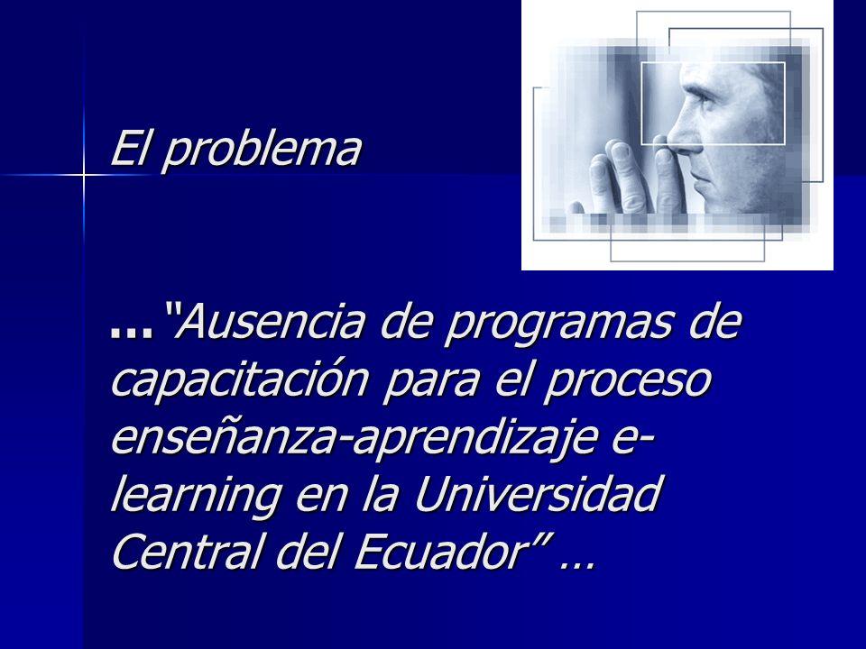 Objetivo Principal Diseñar un programa de capacitación sobre el uso de las nuevas Tecnologías de Información y Comunicación para el proceso de ínter aprendizaje e-learning, dirigido a docentes de la Universidad Central del Ecuador .