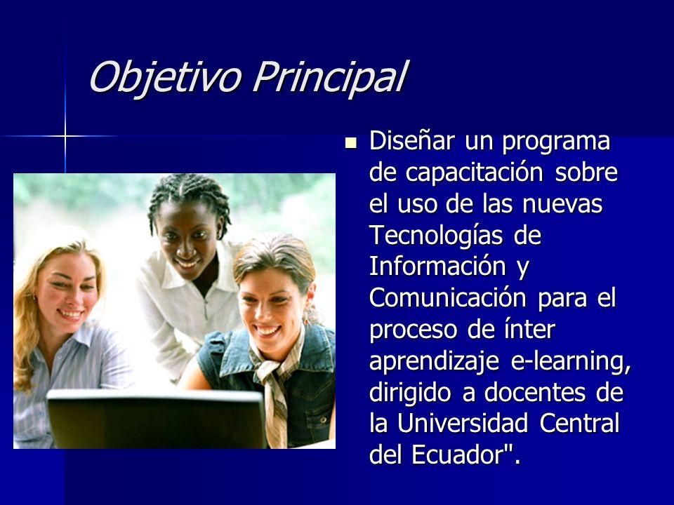 Objetivo Principal Diseñar un programa de capacitación sobre el uso de las nuevas Tecnologías de Información y Comunicación para el proceso de ínter a