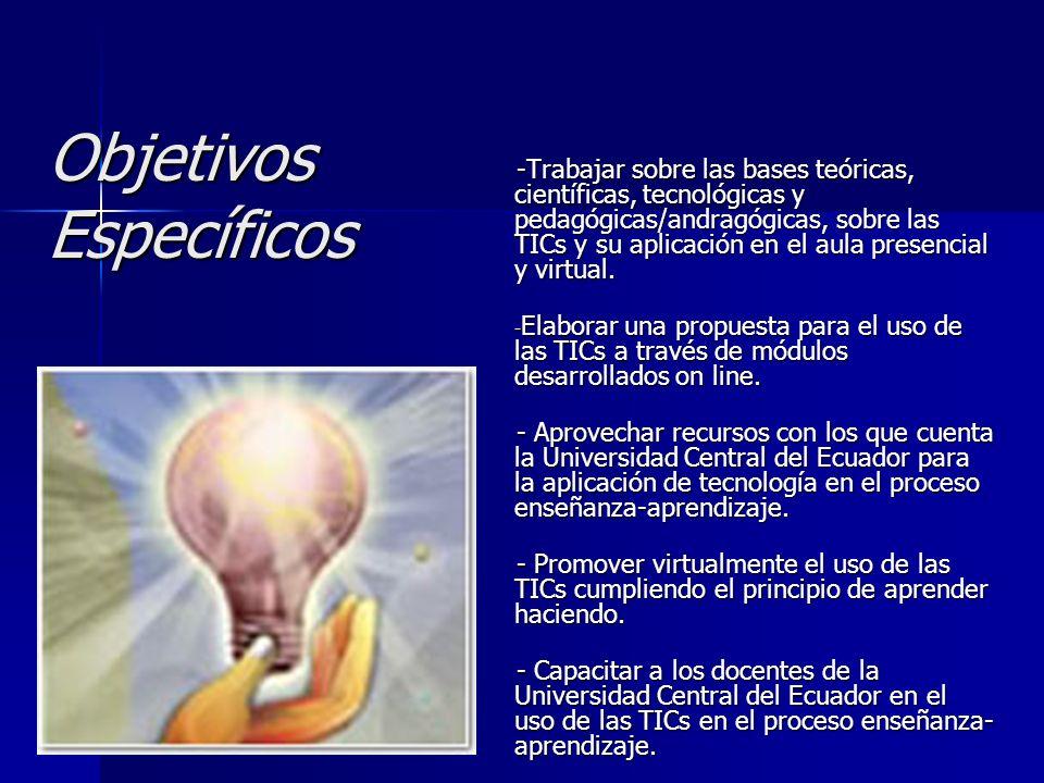 Objetivos Específicos -Trabajar sobre las bases teóricas, científicas, tecnológicas y pedagógicas/andragógicas, sobre las TICs y su aplicación en el a