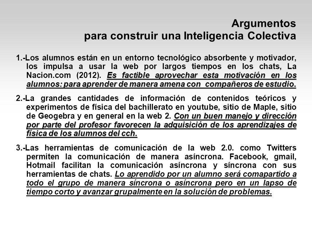 Argumentos para construir una Inteligencia Colectiva Lo aprendido individualmente puede servir a otros para aprender, Corpus Canchis (2010) 4.-Los blogs o bitácoras son de gran aceptación en Internet, permiten de manera fácil y rápida, a cualquier persona publicar en un espacio propio sus ideas y las comparta con otras personas en la red.