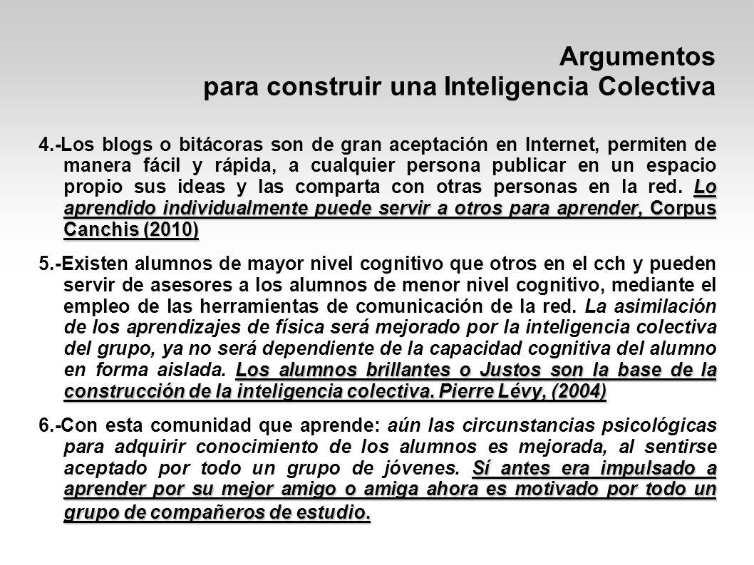 Argumentos para construir una Inteligencia Colectiva Todo individuo es capaz de llegar a ser líder de la comunidad emergente.