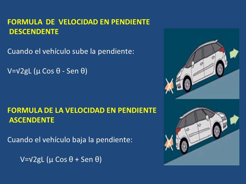 FORMULA DE VELOCIDAD EN PENDIENTE DESCENDENTE Cuando el vehículo sube la pendiente: V=2gL (µ Cos θ - Sen θ) FORMULA DE LA VELOCIDAD EN PENDIENTE ASCENDENTE Cuando el vehículo baja la pendiente: V=2gL (µ Cos θ + Sen θ)