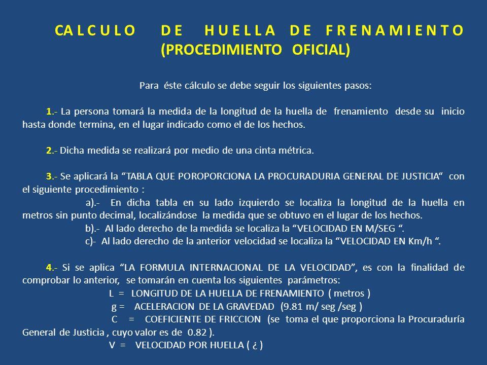 CA L C U L O D E H U E L L A D E F R E N A M I E N T O (PROCEDIMIENTO OFICIAL) Para éste cálculo se debe seguir los siguientes pasos: 1.- La persona t