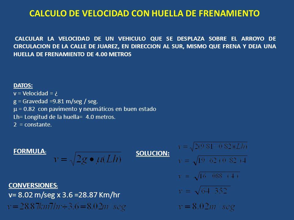 CALCULO DE VELOCIDAD CON HUELLA DE FRENAMIENTO CALCULAR LA VELOCIDAD DE UN VEHICULO QUE SE DESPLAZA SOBRE EL ARROYO DE CIRCULACION DE LA CALLE DE JUAREZ, EN DIRECCION AL SUR, MISMO QUE FRENA Y DEJA UNA HUELLA DE FRENAMIENTO DE 4.00 METROS DATOS: v = Velocidad = ¿ g = Gravedad =9.81 m/seg / seg.