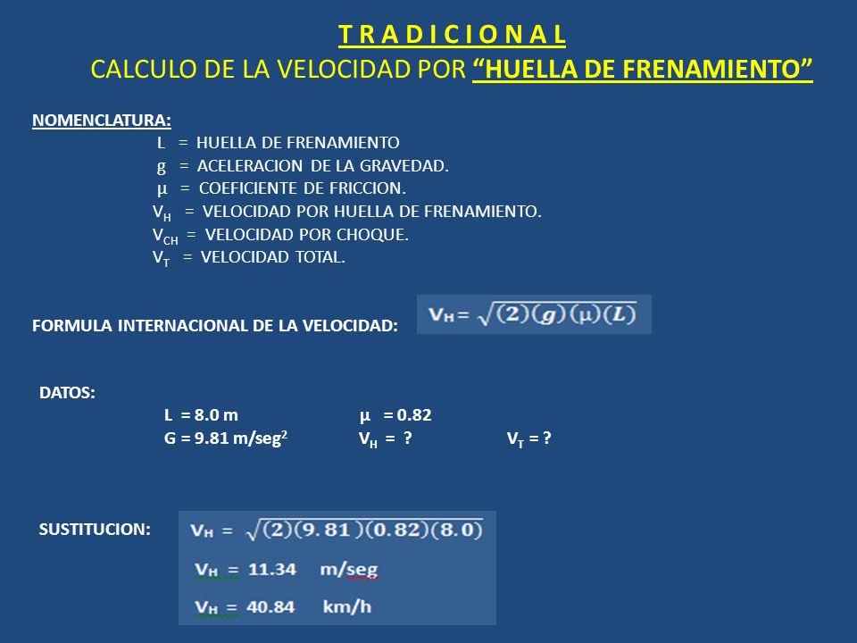 T R A D I C I O N A L CALCULO DE LA VELOCIDAD POR HUELLA DE FRENAMIENTO NOMENCLATURA: L = HUELLA DE FRENAMIENTO g = ACELERACION DE LA GRAVEDAD. µ = CO