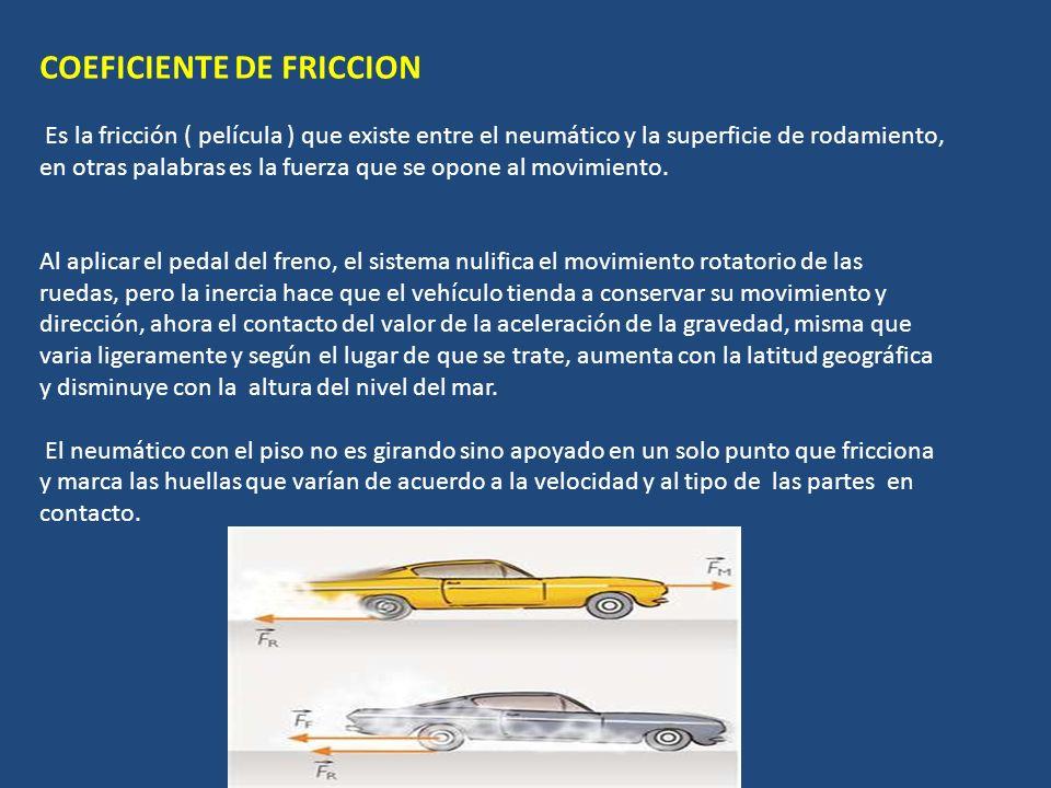 COEFICIENTE DE FRICCION Es la fricción ( película ) que existe entre el neumático y la superficie de rodamiento, en otras palabras es la fuerza que se opone al movimiento.