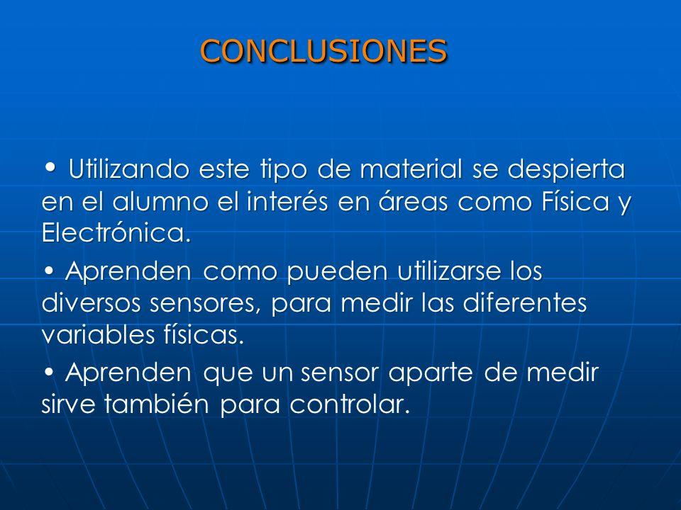 CONCLUSIONESCONCLUSIONES Utilizando este tipo de material se despierta en el alumno el interés en áreas como Física y Electrónica. Aprenden como puede