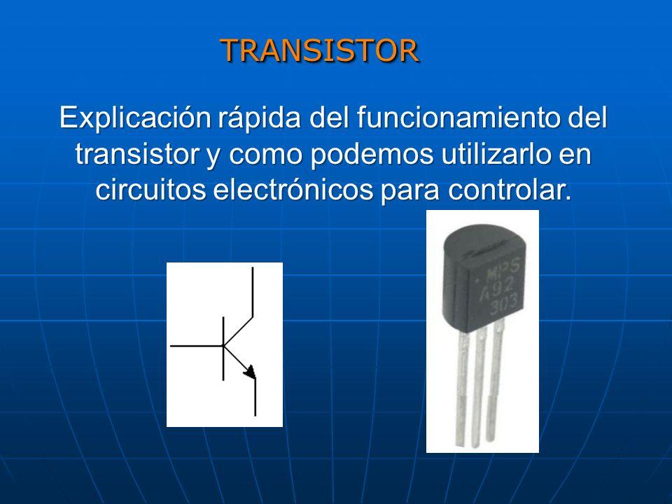TRANSISTORTRANSISTOR Explicación rápida del funcionamiento del transistor y como podemos utilizarlo en circuitos electrónicos para controlar.