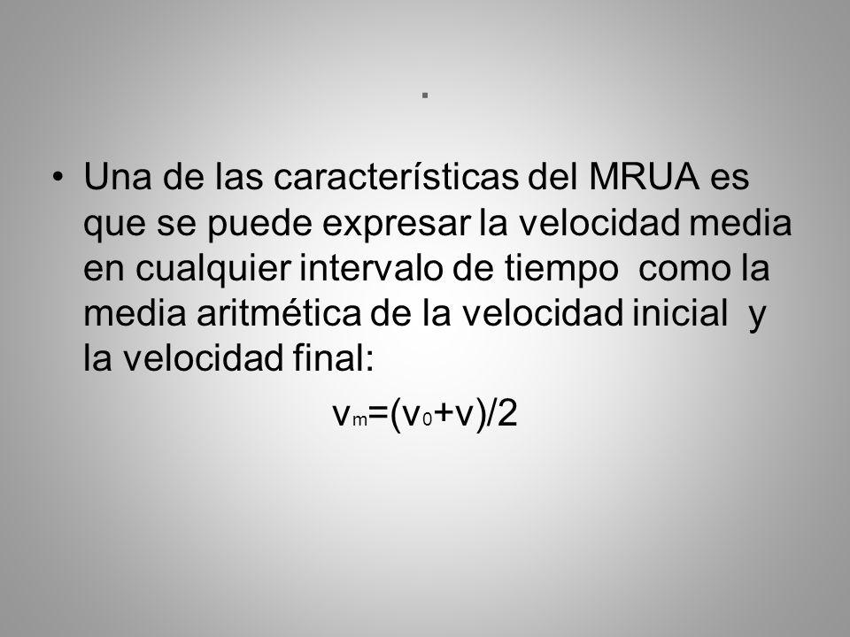 . Una de las características del MRUA es que se puede expresar la velocidad media en cualquier intervalo de tiempo como la media aritmética de la velo