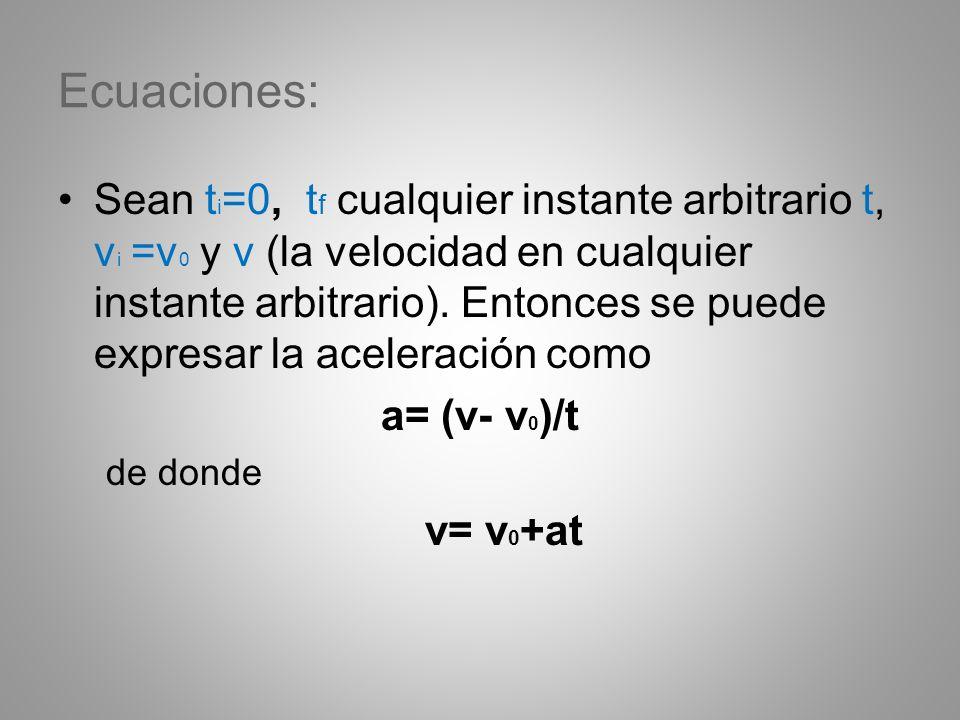 Ecuaciones: Sean t i =0, t f cualquier instante arbitrario t, v i =v 0 y v (la velocidad en cualquier instante arbitrario). Entonces se puede expresar