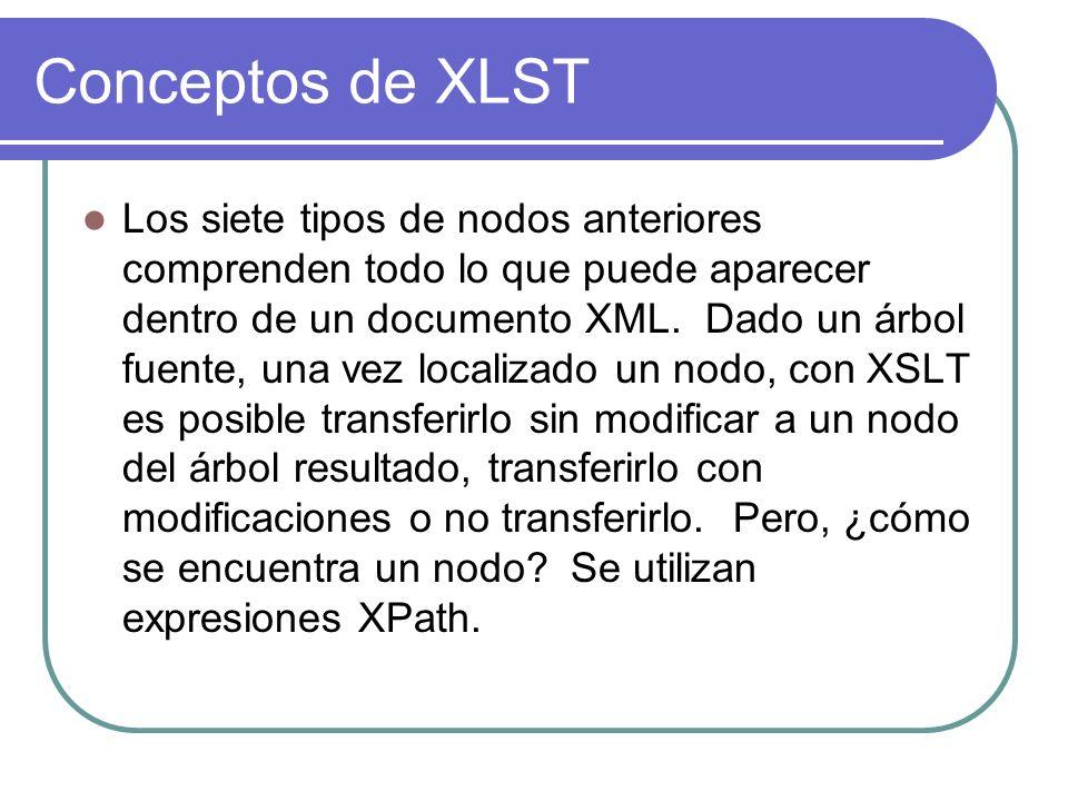 Conceptos de XLST Los siete tipos de nodos anteriores comprenden todo lo que puede aparecer dentro de un documento XML.