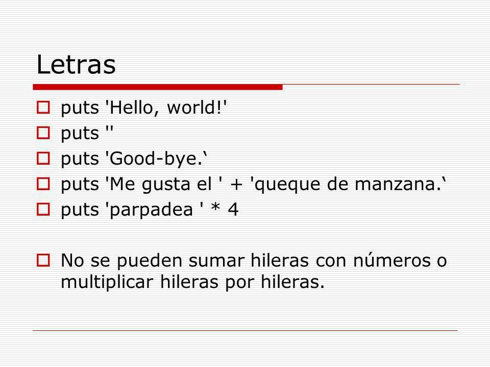 Arreglos [] [5] [ Hello , Goodbye ] flavor = vanilla # This is not an array, of course...