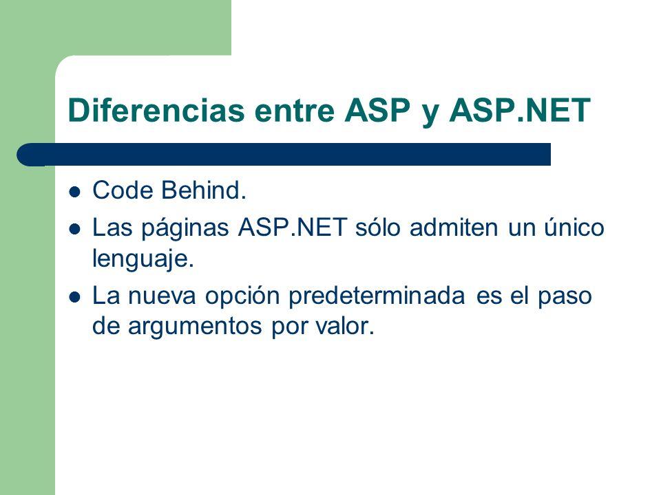Diferencias entre ASP y ASP.NET Code Behind. Las páginas ASP.NET sólo admiten un único lenguaje. La nueva opción predeterminada es el paso de argument