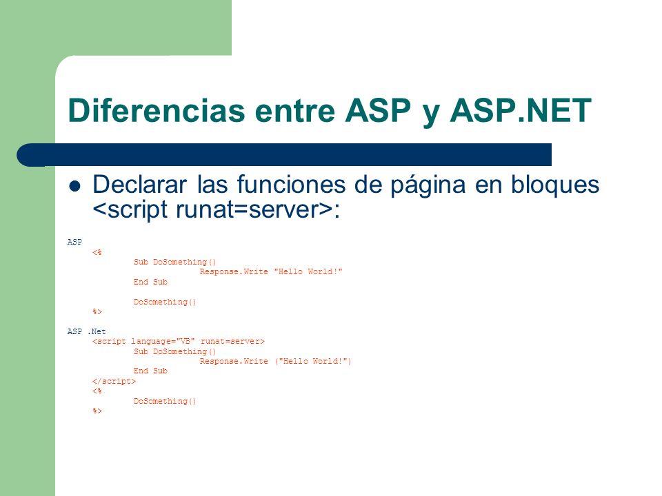 Diferencias entre ASP y ASP.NET Declarar las funciones de página en bloques : ASP <% Sub DoSomething() Response.Write