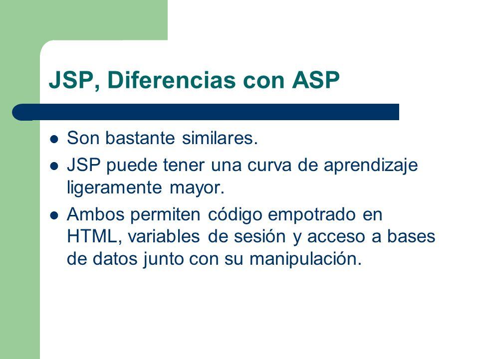 JSP, Diferencias con ASP Son bastante similares. JSP puede tener una curva de aprendizaje ligeramente mayor. Ambos permiten código empotrado en HTML,
