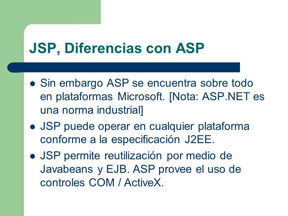 JSP, Diferencias con ASP Sin embargo ASP se encuentra sobre todo en plataformas Microsoft. [Nota: ASP.NET es una norma industrial] JSP puede operar en