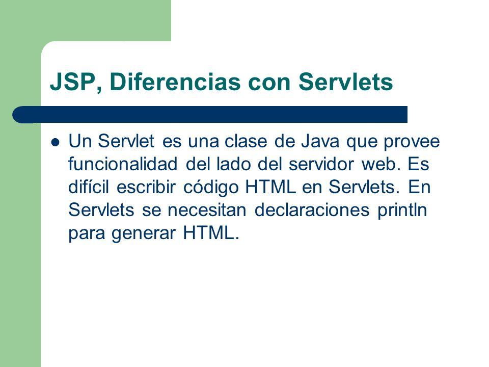 JSP, Diferencias con Servlets Un Servlet es una clase de Java que provee funcionalidad del lado del servidor web. Es difícil escribir código HTML en S