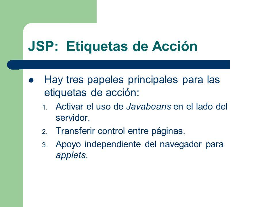 JSP: Etiquetas de Acción Hay tres papeles principales para las etiquetas de acción: 1. Activar el uso de Javabeans en el lado del servidor. 2. Transfe