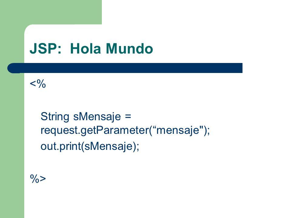 JSP: Hola Mundo <% String sMensaje = request.getParameter(mensaje
