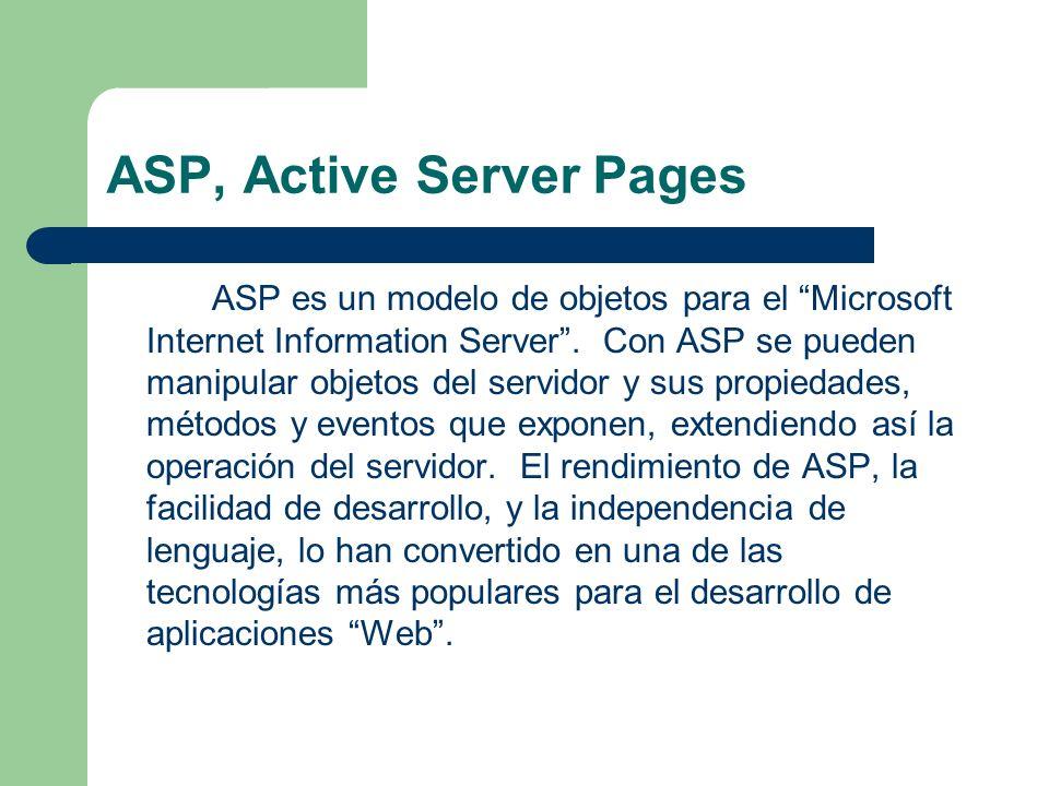 ASP, Active Server Pages ASP es un modelo de objetos para el Microsoft Internet Information Server. Con ASP se pueden manipular objetos del servidor y