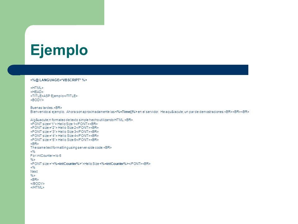 Ejemplo ASP Ejemplo Buenas tardes. Bienvenido al ejemplo. Ahora son aproximadamente las en el servidor. He aquí un par de demostraciones: Alg&u