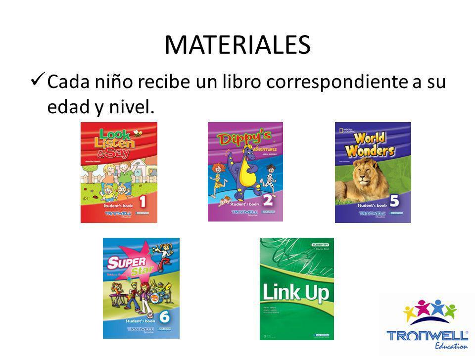 MATERIALES Cada niño recibe un libro correspondiente a su edad y nivel.