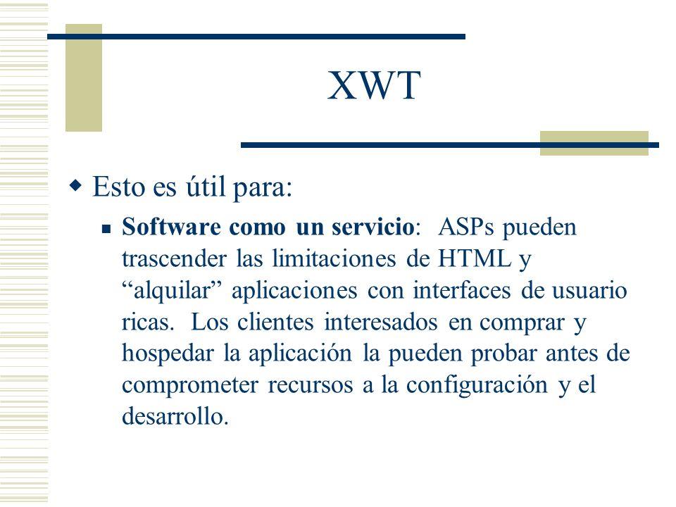 XWT Esto es útil para: Software como un servicio: ASPs pueden trascender las limitaciones de HTML y alquilar aplicaciones con interfaces de usuario ri