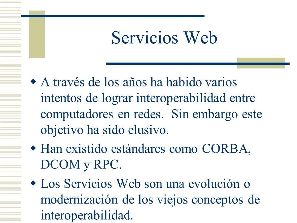Servicios Web A través de los años ha habido varios intentos de lograr interoperabilidad entre computadores en redes. Sin embargo este objetivo ha sid
