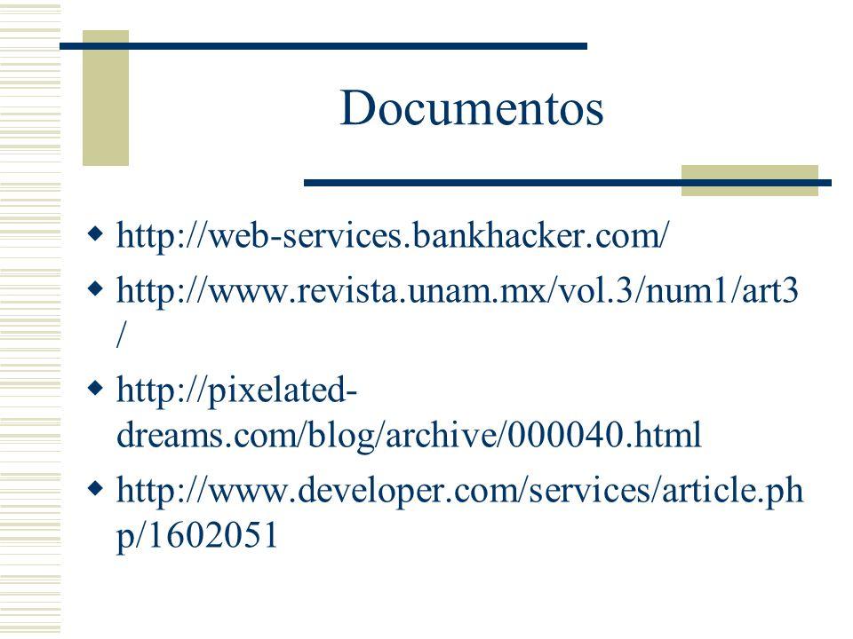 Documentos http://web-services.bankhacker.com/ http://www.revista.unam.mx/vol.3/num1/art3 / http://pixelated- dreams.com/blog/archive/000040.html http