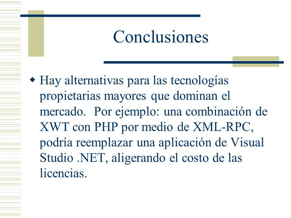 Conclusiones Hay alternativas para las tecnologías propietarias mayores que dominan el mercado. Por ejemplo: una combinación de XWT con PHP por medio