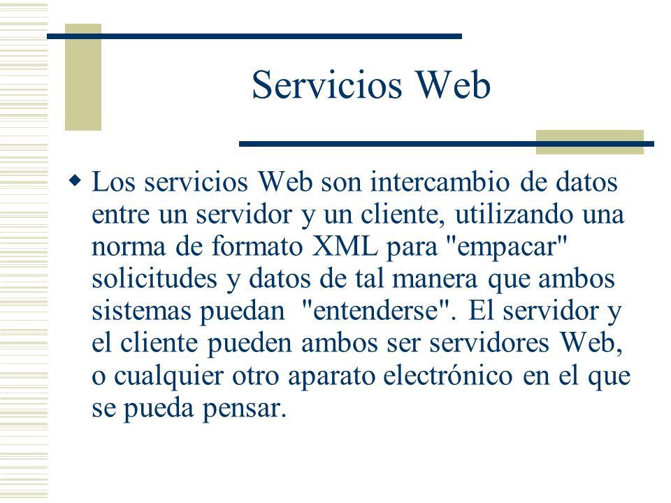 Servicios Web Los servicios Web son intercambio de datos entre un servidor y un cliente, utilizando una norma de formato XML para