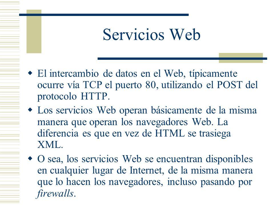 Servicios Web El intercambio de datos en el Web, típicamente ocurre vía TCP el puerto 80, utilizando el POST del protocolo HTTP. Los servicios Web ope
