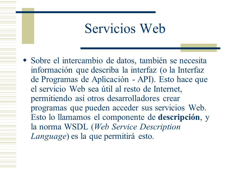 Servicios Web Sobre el intercambio de datos, también se necesita información que describa la interfaz (o la Interfaz de Programas de Aplicación - API)