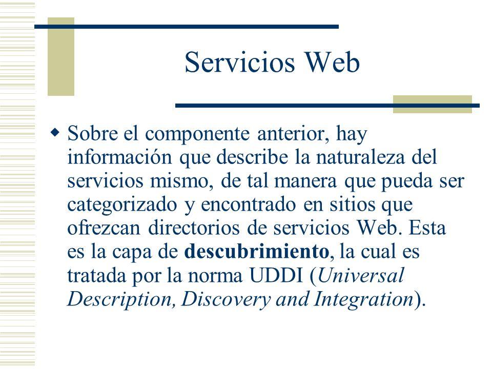 Servicios Web Sobre el componente anterior, hay información que describe la naturaleza del servicios mismo, de tal manera que pueda ser categorizado y