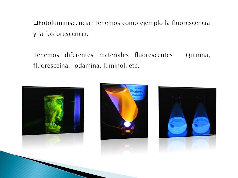 Fotoluminiscencia: Tenemos como ejemplo la fluorescencia y la fosforescencia. Tenemos diferentes materiales fluorescentes: Quinina, fluoresceína, roda
