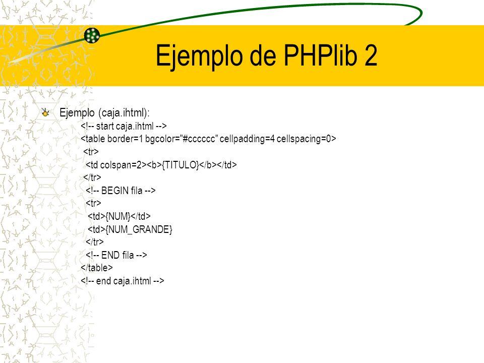 Ejemplo de PHPlib 2 Ejemplo (caja.ihtml): {TITULO} {NUM} {NUM_GRANDE}