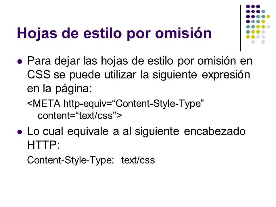 Hojas de estilo por omisión Para dejar las hojas de estilo por omisión en CSS se puede utilizar la siguiente expresión en la página: Lo cual equivale