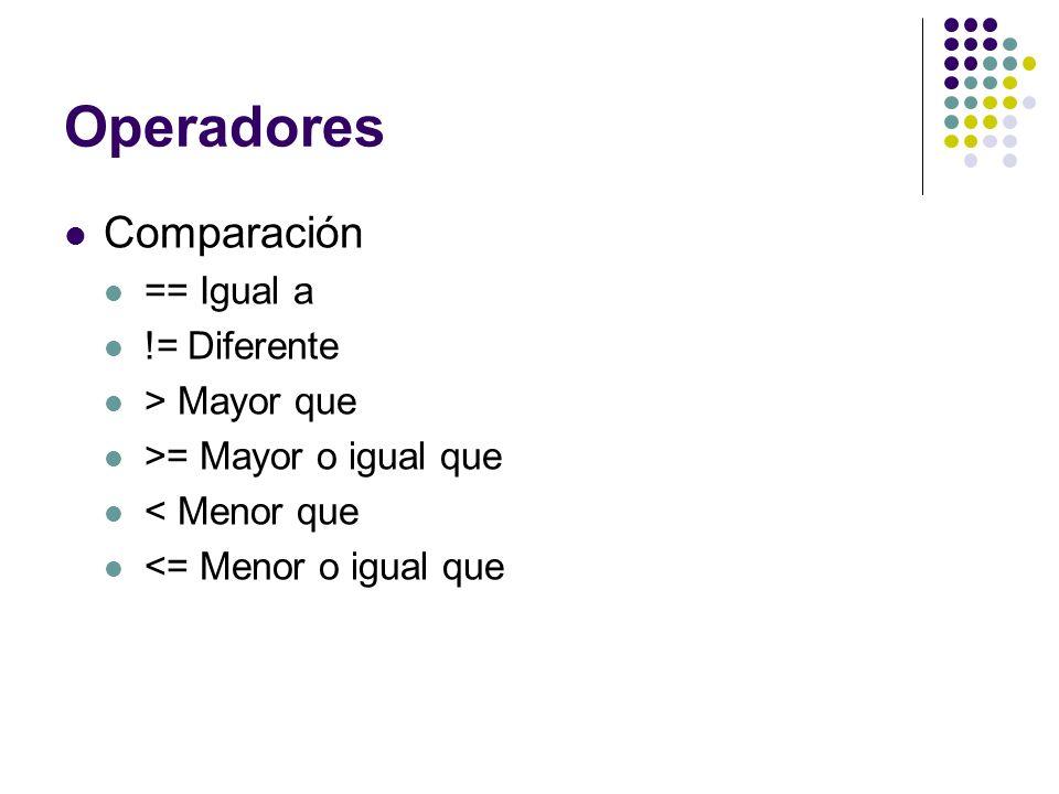 Operadores Comparación == Igual a != Diferente > Mayor que >= Mayor o igual que < Menor que <= Menor o igual que