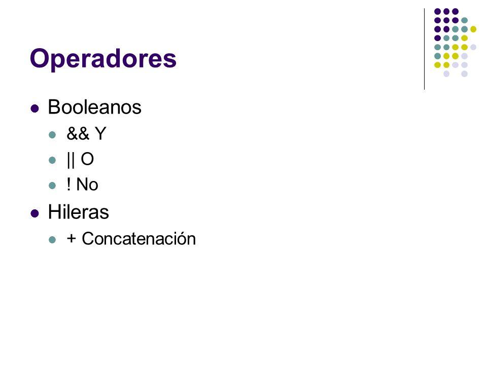 Operadores Booleanos && Y || O ! No Hileras + Concatenación