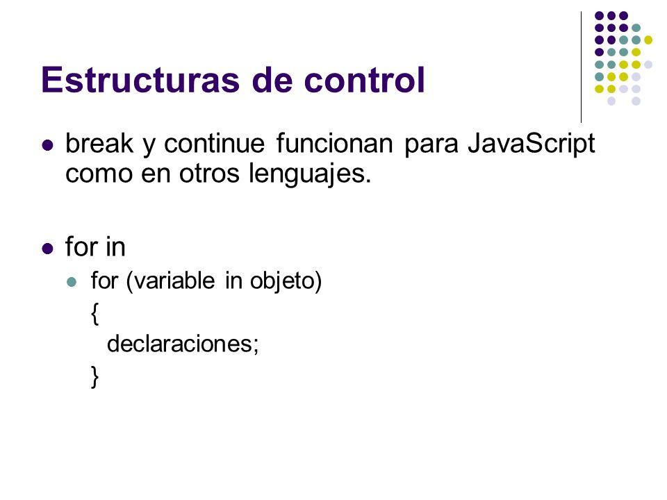 Estructuras de control break y continue funcionan para JavaScript como en otros lenguajes. for in for (variable in objeto) { declaraciones; }