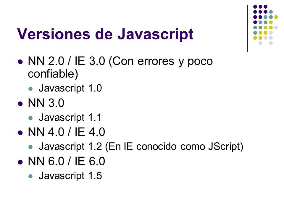 Versiones de Javascript NN 2.0 / IE 3.0 (Con errores y poco confiable) Javascript 1.0 NN 3.0 Javascript 1.1 NN 4.0 / IE 4.0 Javascript 1.2 (En IE cono