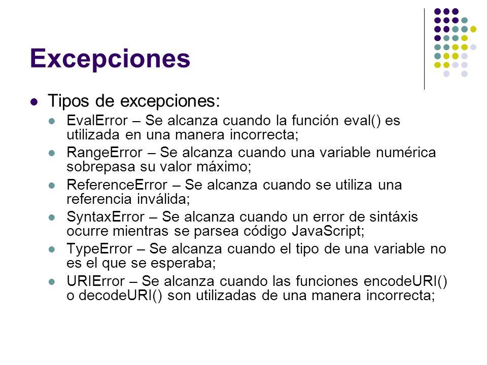 Excepciones Tipos de excepciones: EvalError – Se alcanza cuando la función eval() es utilizada en una manera incorrecta; RangeError – Se alcanza cuand