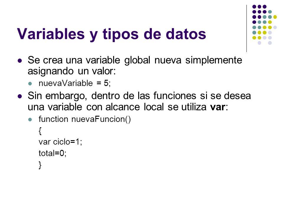 Variables y tipos de datos Se crea una variable global nueva simplemente asignando un valor: nuevaVariable = 5; Sin embargo, dentro de las funciones s