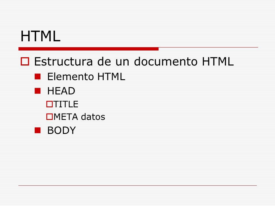 HTML Estructura de un documento HTML Elemento HTML HEAD TITLE META datos BODY