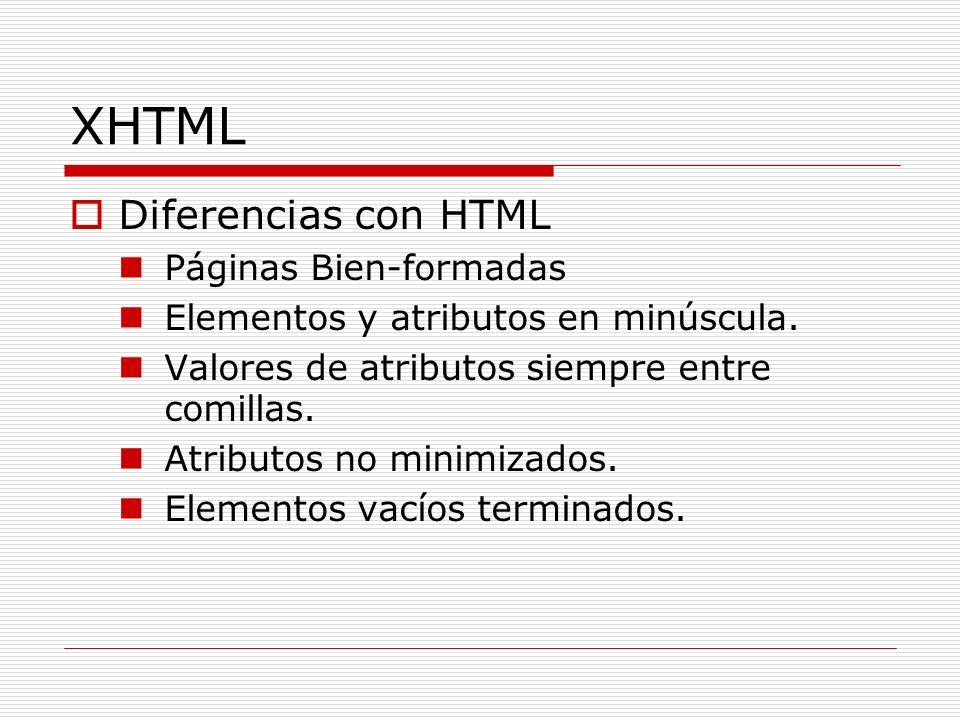 XHTML Diferencias con HTML Páginas Bien-formadas Elementos y atributos en minúscula. Valores de atributos siempre entre comillas. Atributos no minimiz