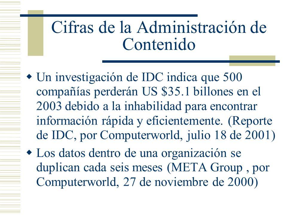 Cifras de la Administración de Contenido Un investigación de IDC indica que 500 compañías perderán US $35.1 billones en el 2003 debido a la inhabilidad para encontrar información rápida y eficientemente.