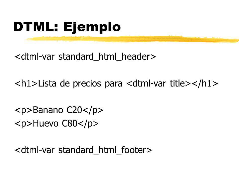 DTML: Ejemplo Lista de precios para Banano C20 Huevo C80