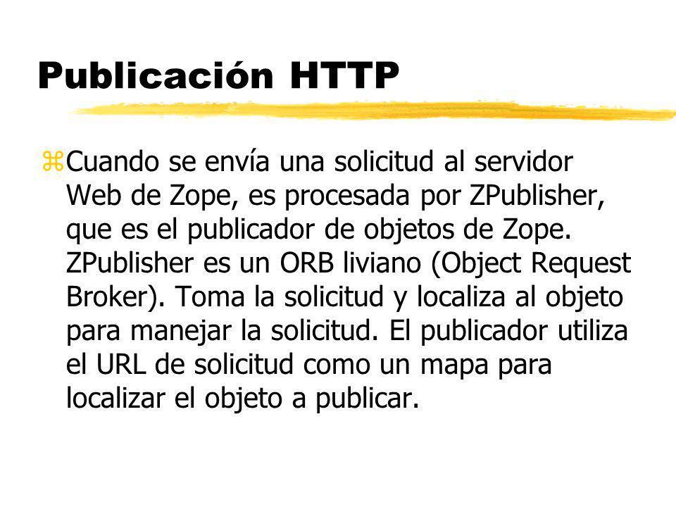 Publicación HTTP zCuando se envía una solicitud al servidor Web de Zope, es procesada por ZPublisher, que es el publicador de objetos de Zope.