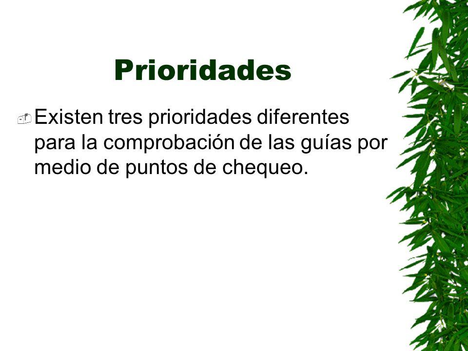 Prioridades Existen tres prioridades diferentes para la comprobación de las guías por medio de puntos de chequeo.